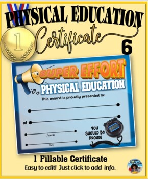 Phys. Ed. Certificate 6 - Fillable
