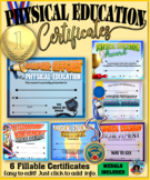 Phys. Ed. Certificates and Medals Set - Fillable