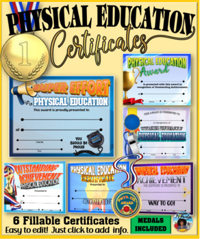 Phys. Ed. Certificates and Medals Set