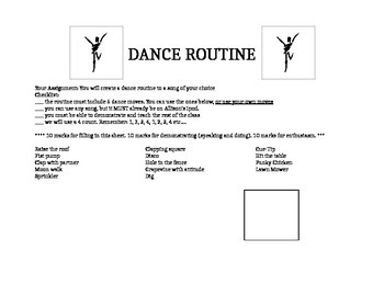 Phys. Ed Dance Routine Assignment