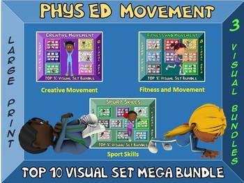 Phys Ed Movement Signs- Mega Bundle- Top 10 Movement Visuals- 24 Sets