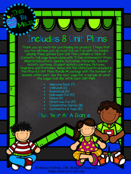 Phys Ed Unit Plans BUNDLE #1