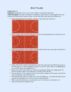 PE Game Sheet: Skittles