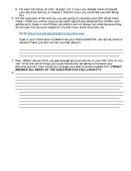 Physical Activity- Choose My Plate Webquest