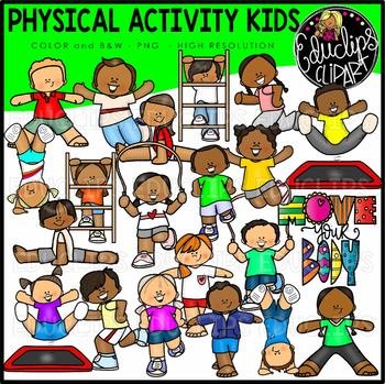 Physical Activity Kids Clip Art Set {Educlips Clipart}
