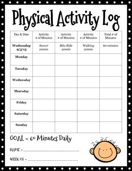 Physical Activity Log by Amanda Montana | Teachers Pay Teachers