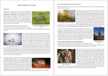 Physical Adaptations - Science Reading Article