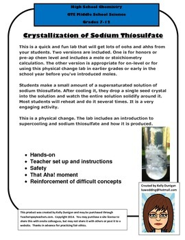 Physical Change:  Crystallization of Sodium Thiosulfate Lab