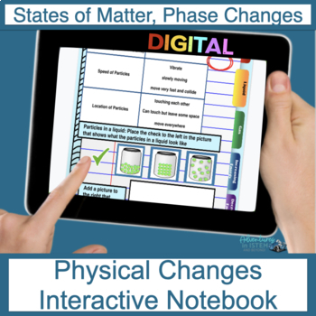 Physical Changes (Including Solids, Liquids, Gas) Digital Interactive Notebook