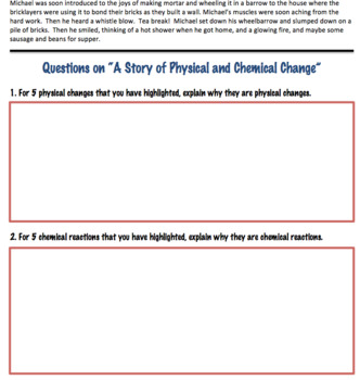 Physical Changes and Chemical Changes Activity (Editable)