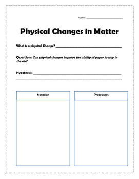 Physical Changes in Matter Paper Lab
