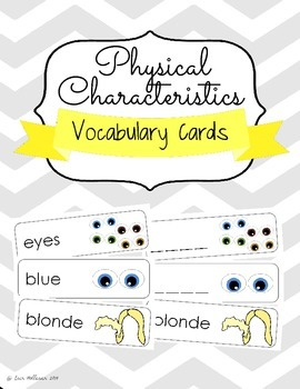 Physical Characteristics Social Emotional Vocabulary Cards