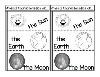 Physical Characteristics of the Sun, the Earth and the Moon