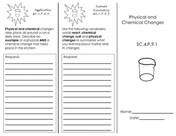 Physical & Chemical Changes Trifold