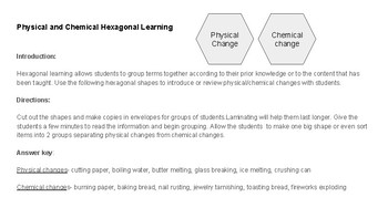 Physical Chemical Changes Hexagonal Learning Activity