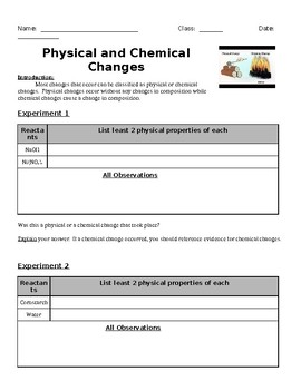 Physical & Chemical Changes Lab