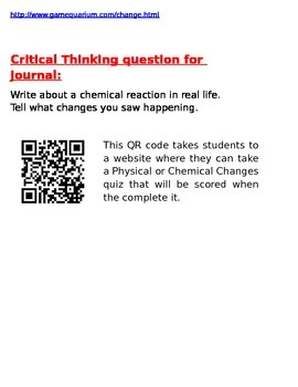 Physical & Chemical Changes Printable Journal Notes & Teacher Resources