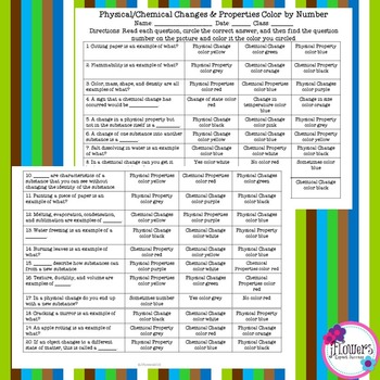 Free Physical/Chemical Changes & Properties Color by Number! Great for Review!