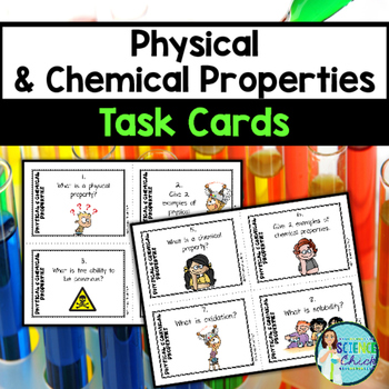 Physical & Chemical Properties Task Cards - with or without QR codes