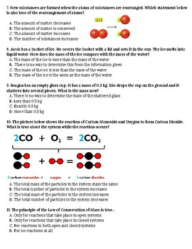 Physical/Chemical Reactions and Conservation of Mass Test