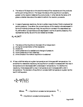 Physical Chemistry - Summary Notes