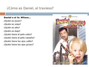 Physical Description Spanish 1 Vocabulary Input PPT (Realidades 5B)