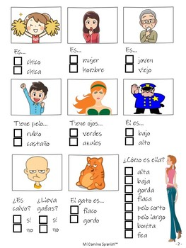 Physical Descriptions Activity for Spanish Students