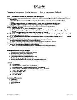 Physical Ed. Core Standards -Basketball unit
