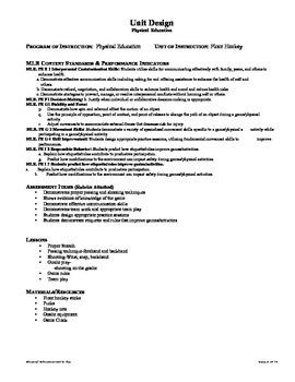 Physical Ed. Core Standards -Floor Hockey unit