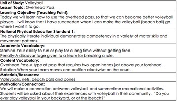 Physical Ed. Volleyball LESSON PLAN, Overhead Pass, Grades 2-6