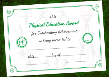 Physical Education Award Certificate