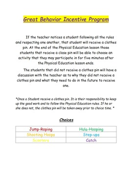 Physical Education Behavior Incentive Program