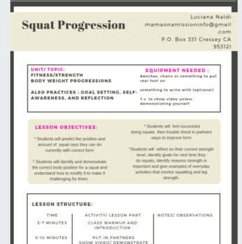 Physical Education - Body weight Squat Progression Lesson Plan