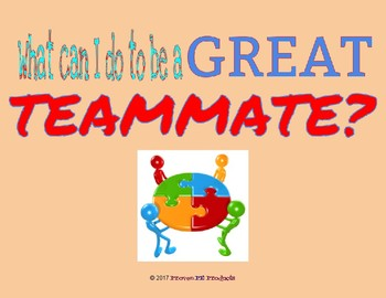Physical Education Character Reflection Question - Be a Great Teammate