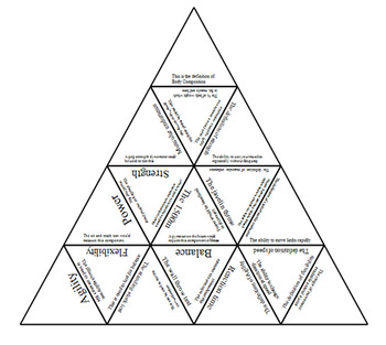 Physical Education Components of Fitness Tarsia Triangle Puzzle