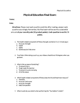 Physical Education Cumulative Final Exam