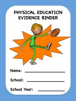 Physical Education Evidence Binder Inserts - (Blue Boarder) - Danielson