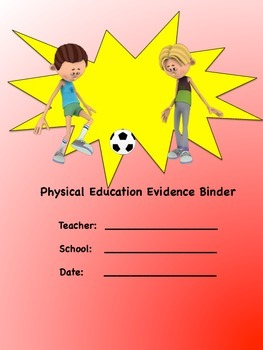 Physical Education Evidence Binder Inserts (Red) - Danielson