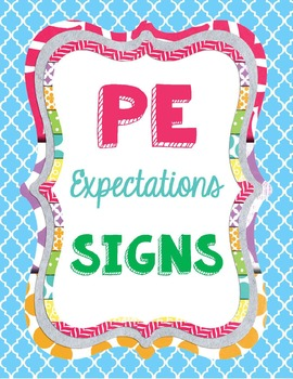 Physical Education Expectations Signs