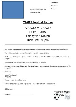 Physical Education Fixture Letter Template