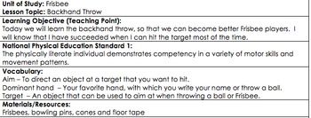 Physical Education, Frisbee Backhand Throw Lesson Plan