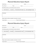 Physical Education Injury Report