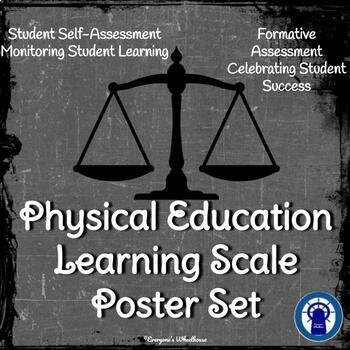 Physical Education Learning Scale Posters/Slide Set Chalkboard Theme