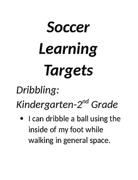 Physical Education Learning Targets