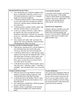 Physical Education Lesson Plans - Spring/Summer