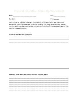 Physical Education Make-up Worksheet