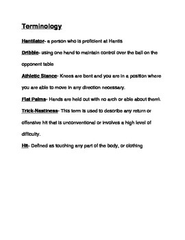 Physical Education- Non Traditional Game HANTIS instructional packet +Assesments