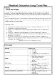 Physical Education (PE) Long Term Plan for 5th Class EDITABLE