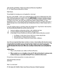 Physical Education Parent Letter for Beginning of Semester