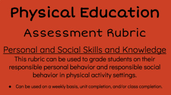 Physical Education- Personal and Social Skills Assessment Rubric